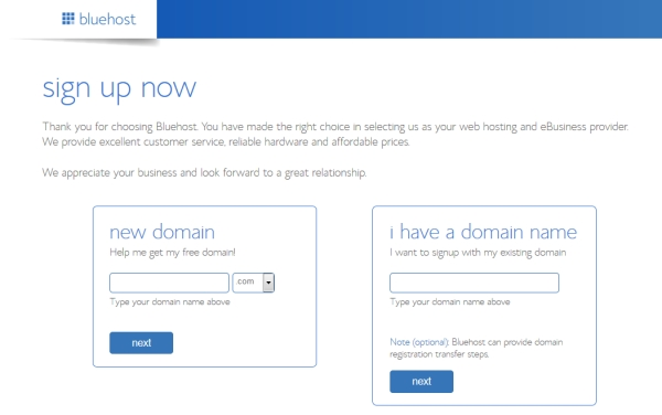 How to start a blog domain-registration page