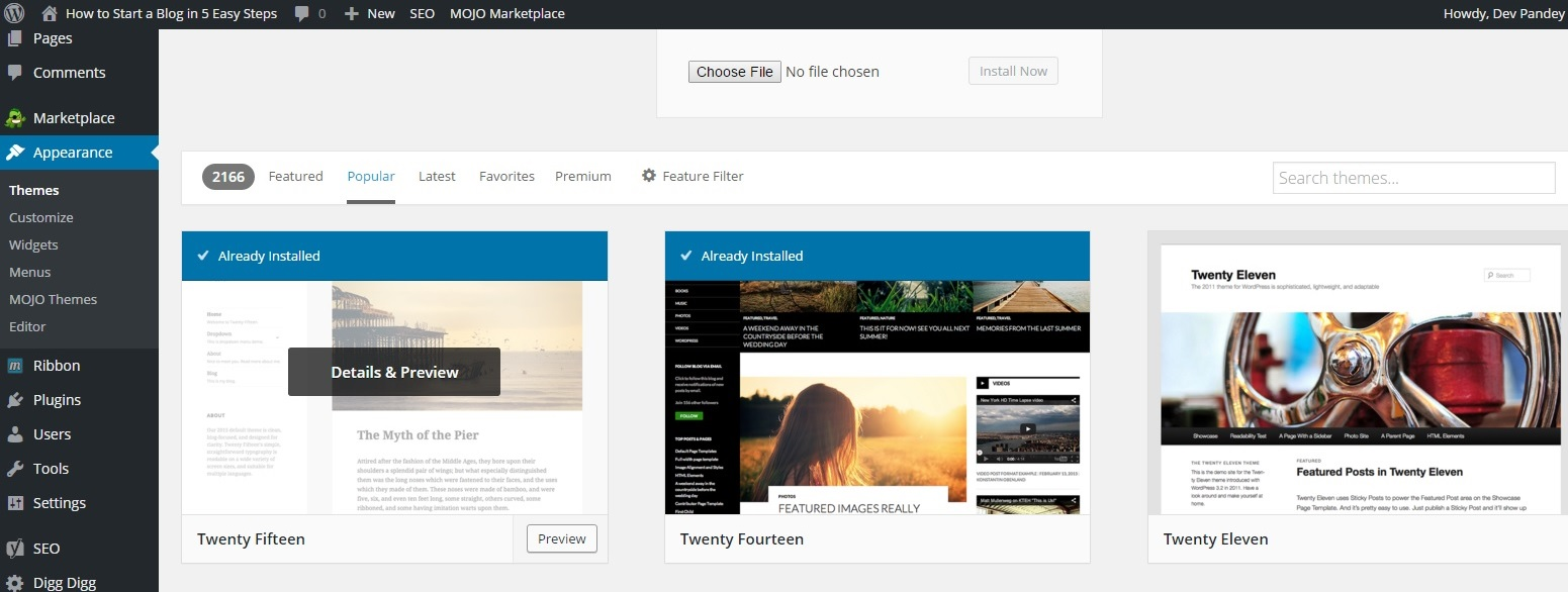 Themes change for wordpress_how to start a blog in easy steps