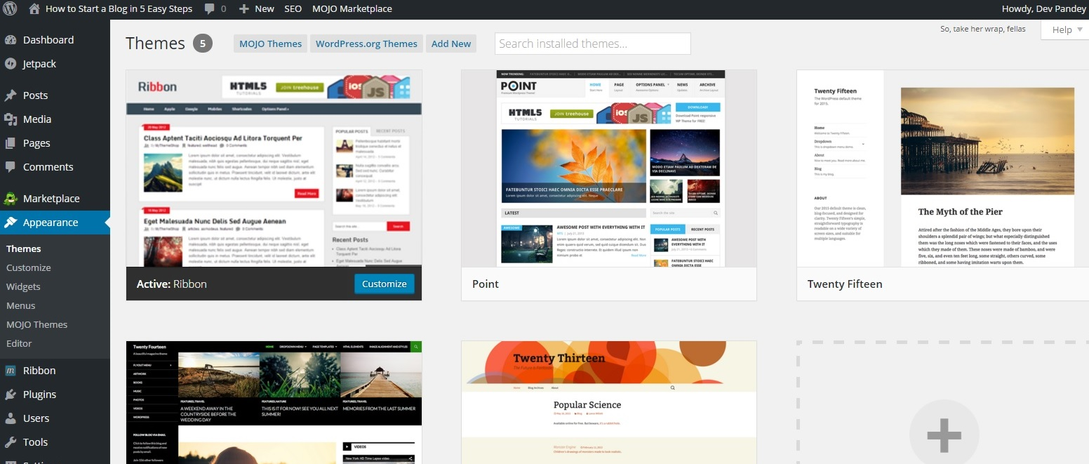 Themes for wordpress_how to start a blog in easy steps